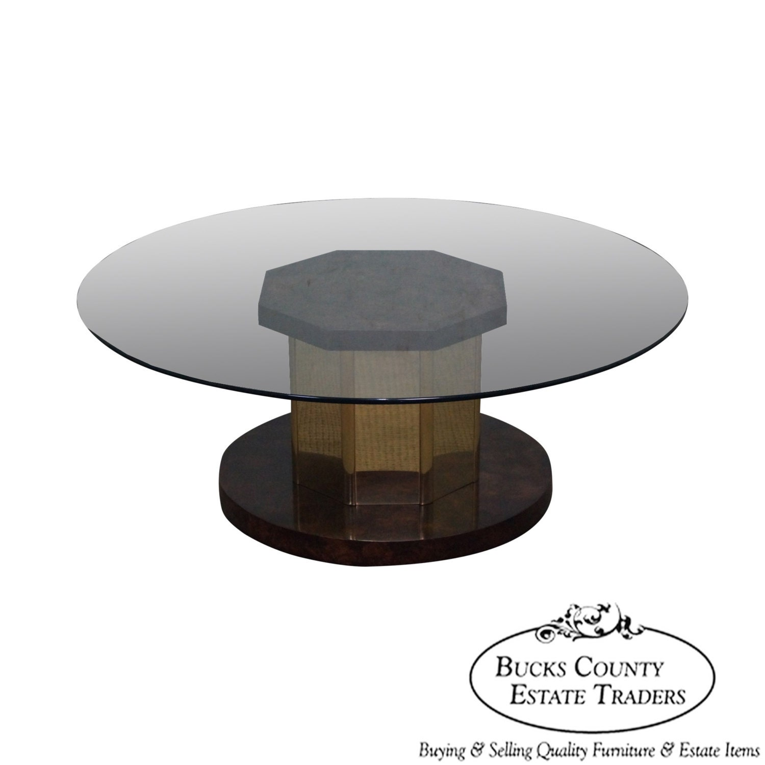 Mastercraft Burl Wood Brass Round Glass Top Coffee Table