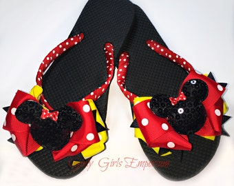 Classsic Minnie Sequin with yellow Bow Flip Flops READY TO SHIP