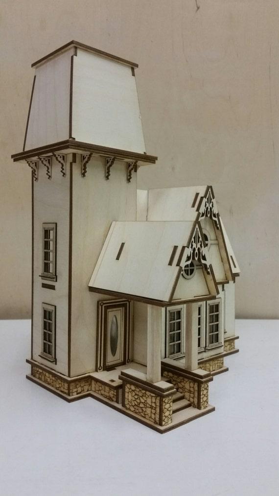 Diy Laser Cut Dollhouse Kit Victorian Cottage 1 48