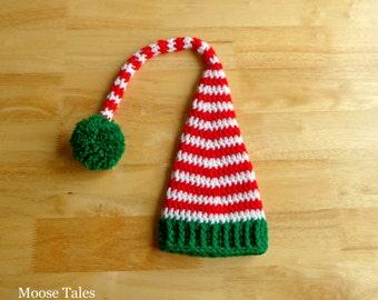 Newborn Elf Hat, Newborn Crochet Hat, Newborn Hat, Christmas Newborn Hat, Newborn Santa Hat, Christmas Color Hat, Crochet Christmas Baby