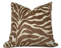 "Ethan Allen Large Animal Stripe Zebra Tiger Brown Designer Upholstery Pillow Cushion Zipper Cover, Fits 16"" 18"" 20"" 22"" 24"" Inserts"