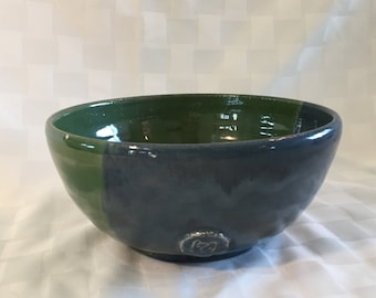 Blue and green hand thrown ceramic bowl.