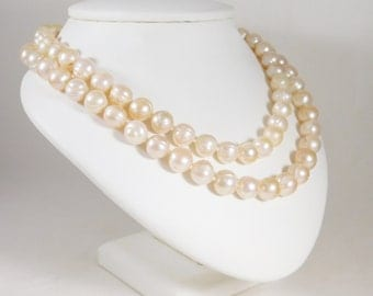 Vintage Double Strand White XXL Baroque Pearl and 14k Gold Necklace
