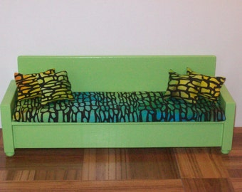 Extra Long 1:6 scale Sofa/ doll sofa/ doll couch / lime green sofa/ living room furniture/ playscale sofa/ playscale couch/ barbie size sofa