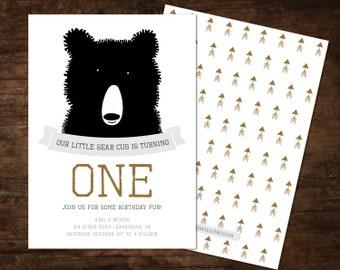 bear birthday invitation, bear invitation, bear birthday, camping invitation, camping birthday invite, camping party birthday invitation,