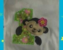 Monkey Birthday t-shirt, monkey  birthday  ,monkey onesie, monkey embroidery