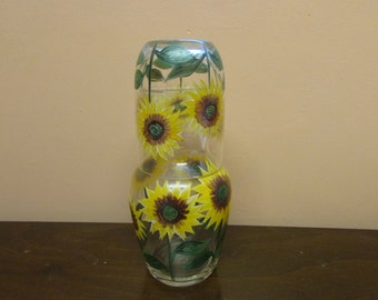 Vintage hand-painted sunflowers tumble up/bedside carafe