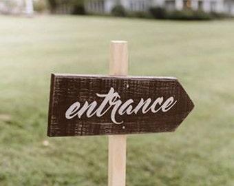 ON SALE Wedding arrow sign - directional wedding signs - rustic wedding signs - wedding signage - ceremony sign - entrance sign - wedding ce