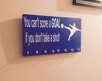 soccer sign - goal sign - you can't score a goal if you don't take a shot sign - inspirational signs - motivational sign - soccer decor