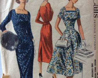 McCall's 3462 misses dress with full or slim skirt size 16 bust 34 vintage 1950's sewing pattern