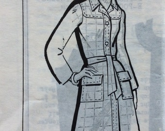 Mail order 8289 vintage 1970's misses coat with tie belt sewing pattern size 14 bust 36