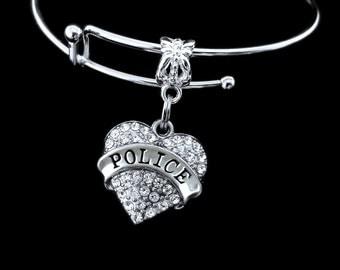 Police bracelet Crystal heart police charm bracelet Police gift Policemans bracelet officers bracelet patrolman bracelet Cop bracelet