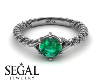 Emerald Engagement Ring White Gold Green Emerald Ring Solitaire Ring Art Deco Ring Vintage Ring Green Emerald Engagement Ring - Keira