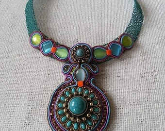 "Soutache necklace ""Turquoise dream"""