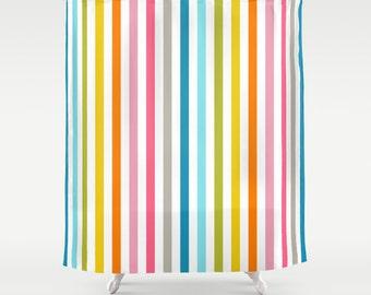 Rainbow Stripe Shower Curtain Kids Bathroom Shower Curtain Pink Shower Curtain Multicolor Stripe Bathroom Decor Girls Shower Curtain