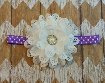 White and Purple flower headband, white eyelet flower headband, purple dots flower headband, polka dot headband, girls headband, children's
