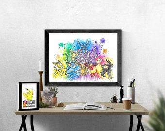 Original - Eevee Family Watercolor Painting by J2Art 'Pokemon' ( A4 PHOTO PRINT) Eeveelutions Flareon Jolteon Vaporeon