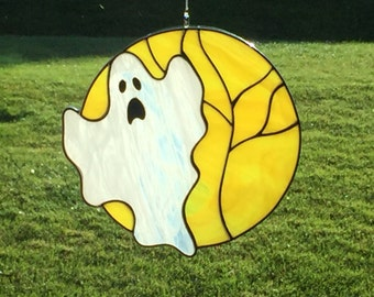 Stained glass ghost and moon suncatcher, ghost, stain glass ghost, Halloween ghost decoration, fall decor, autumn, ghost ornament