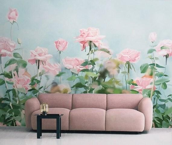 Rose Garden Wallpaper Gouache Flower Wall Mural Art Aqua