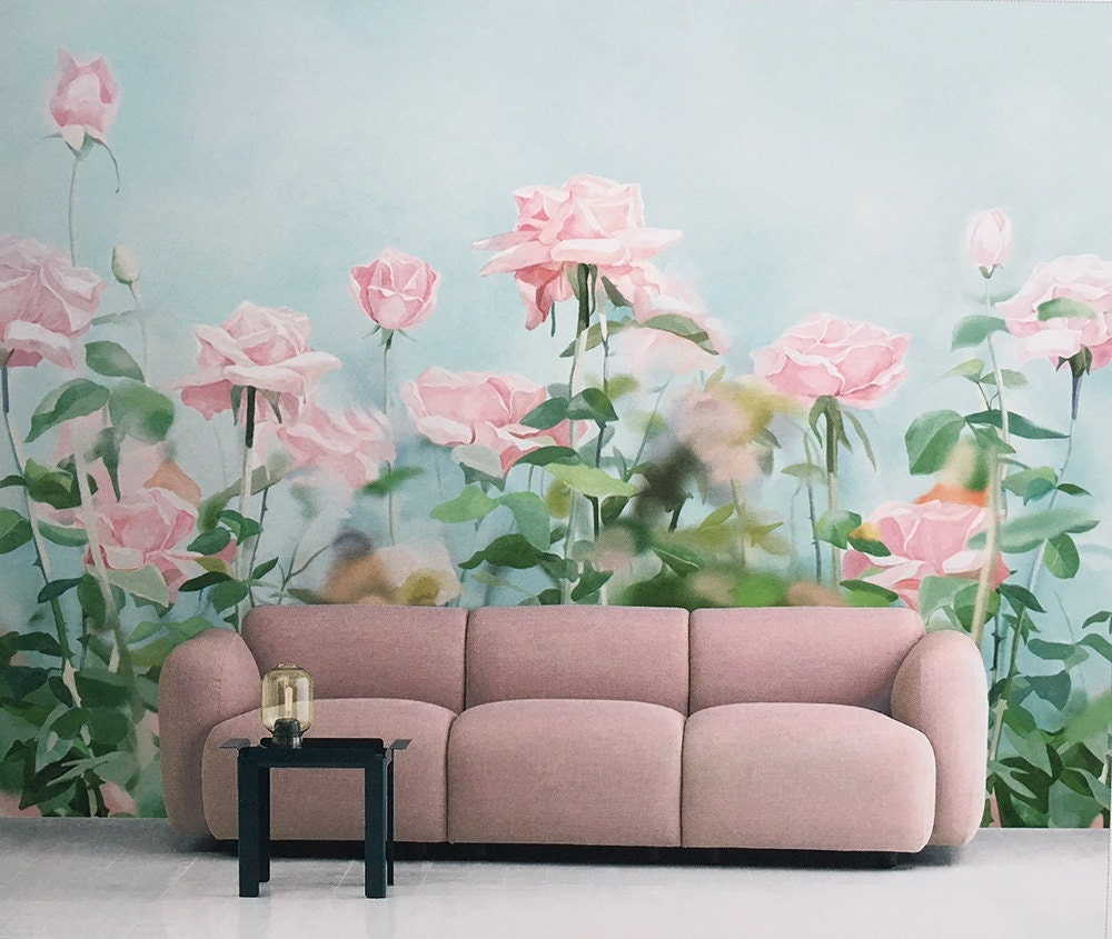 Rose garden wallpaper gouache flower wall mural art aqua for Mural flower