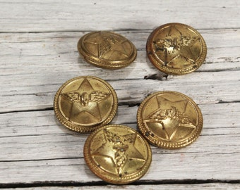 Vintage military buttons - Army buttons - Yellow buttons - Metal star buttons - Military uniform buttons - Set of buttons - Steampunk