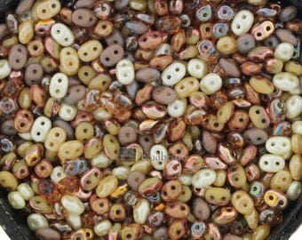 20g Czech SuperDuo 2 hole beads Antique Ivory / BEIGE NEBULA MIX / Custom mix 2.5x5mm [C14]