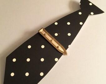 Vintage Swank Gold Tie Clip / Tie Bar Three of Clubs / Clovers / Shamrocks