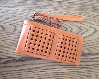 Tan Leather Woven detailed large wristlet purse.
