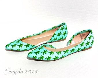 Rare Fabric- Cactuar Flats - Final Fantasy- custom shoes- gift for her- geek- geeky- nerd- wedding- prom- homecoming- cactus- gamer-