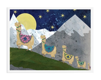 Peruvian Alpaca Print, A4 or 11x14, Moonlight Mountain Scene, Llama Art, Illustrated by Hutch Cassidy