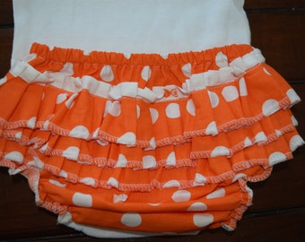 Orange and White Polka Dot Ruffle Bloomers and Headband