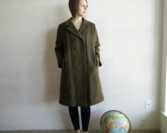 WINTER CLEARANCE Vintage Olive Green Wool Coat/1960s Coat