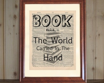 Book Dictionary Print, Book Quote, Book Saying, Bookworm Gift, Book Lover's Gift, Library Decor, Book Print on 5x7 or 8x10 Canvas Panel