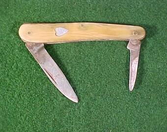 """Pen Knife 3.25"""" Long Celluloid Scales Aluminum Heart Made in Hong Kong"""