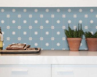 Tile Decals - Tiles for Kitchen/Bathroom Back splash - Floor decals - Moroccan Starry Night Vinyl Tile Sticker Pack color Powder Blue