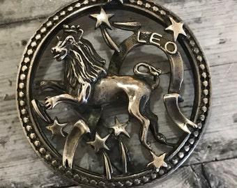 Vintage Beau Sterling Leo Astrology Pendant