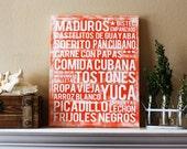 "Cuban Food Art - Canvas 16"" x 20"" - Comida Cubana Subway Art - Various Colors"