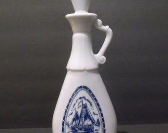Vintage Delft Blue Decanter / Sailing Ships / Windmill, circa 1960's