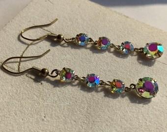 Enchanting Art Deco Aurora Borealis Drop Earrings.