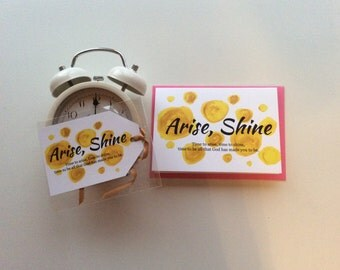 Arise, Shine card and tag pack, Encouragement card, Friendship tag, Affirmation card, Positivity card,  Magnetic tag, To champion, To cheer