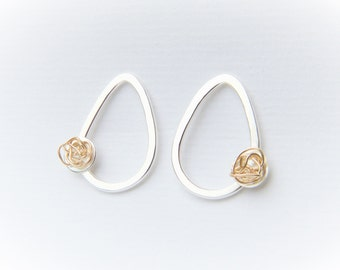 Silver and Gold teardrop studs. Modern asymmetrical earrings handmade from solid sterling silver and 14k yellow gold.