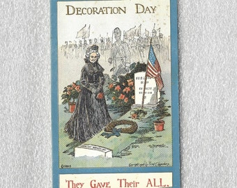 Vintage Patriotic Postcard Decoration Day Post Card Old Widow at Grave of Soldier in Cemetery They Gave Their All Signed Bunnell ~ 6245