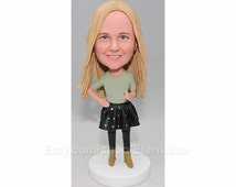 Custom Bobblehead Girl wear black dress - Birthday gift for girl , Birthday gift for her, girl birthday gift, girl gift,Birthday gift to her