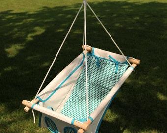 Organic Baby Swing, Indoor Swing, Outdoor Swing, Organic Swing, Organic Canvas Indoor / Outdoor Baby And Toddler Swing  - Blue Dots