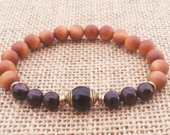 Scented Sandalwood Mala Bracelet Garnet Bracelet Onyx Guru Bead Mala Beaded Mala Bracelet Buddhist Spiritual Bracelet Meditating Bracelet