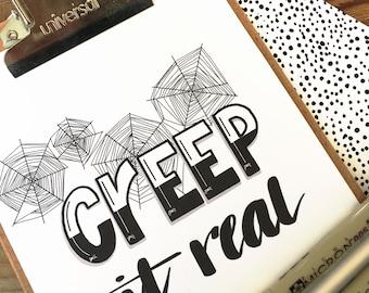 Halloween Print, Wall Art, hand lettered, hand drawn print, gift
