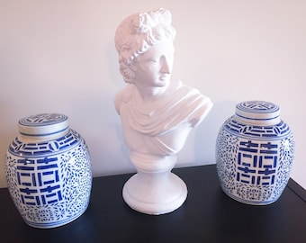 Far East Chinoiserie Blue and White Ginger Jars!