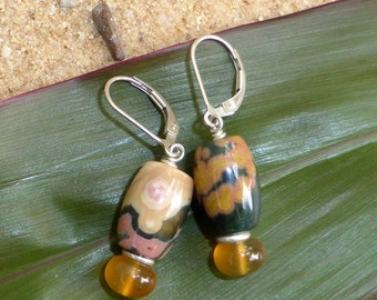 Ocean Jasper Earrings Carnelian Hill Tribe Silver Sterling Silver Leverback Gemstone Jewellery Artisan Boho Orange Green Designer