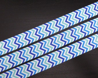 7/8 inch Grosgrain Ribbon - Shades of Blue Chevron - 5 metres