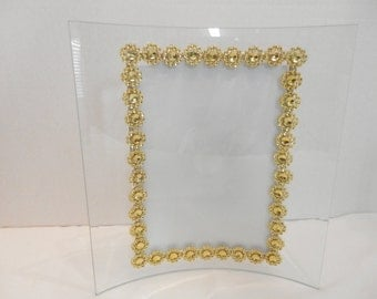 Wedding picture frame, 5x7 gold wedding glass picture frame,Wedding decor, Gold picture frame, Wedding decorations, Table number frame